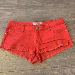 Mink pink red denim shorts